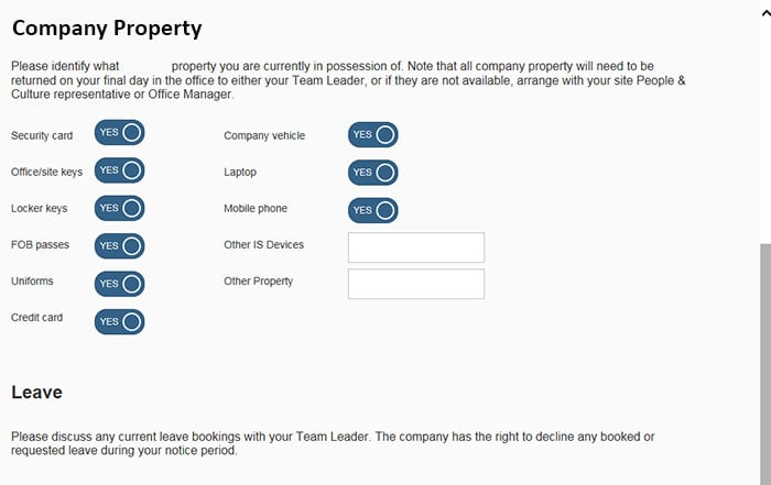 Screen shot of IQX company property functionality