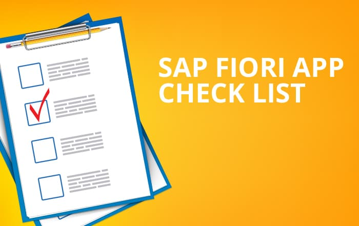 Checklist for SAP Fiori App
