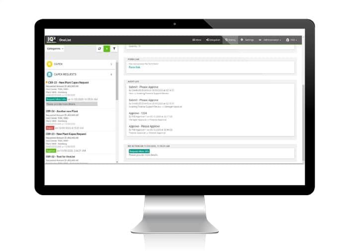 IQX OneList New Features Screen V7.1.1
